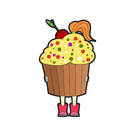 mitten: The girl in an apron and mittens holding a plate of cakes, cupcakes. The concept of delivery, healthy lifestyle, handmade, birthday.