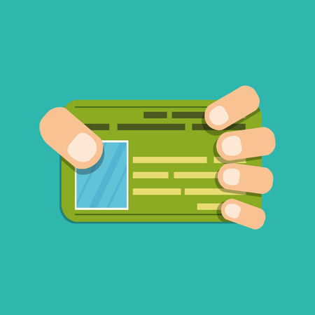 Hand with credit or business card. Illustration of business concept. Vector. Flat style Illustration