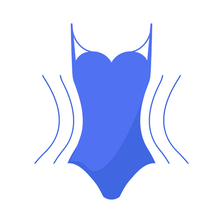 Concept slimming symbol weight loss. Silhouette of sport girl with slender figure, which is engaged in sports. Vector.