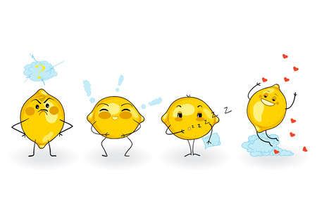Lemon cartoon with different facial expressions. Vector illustration isolated on white background