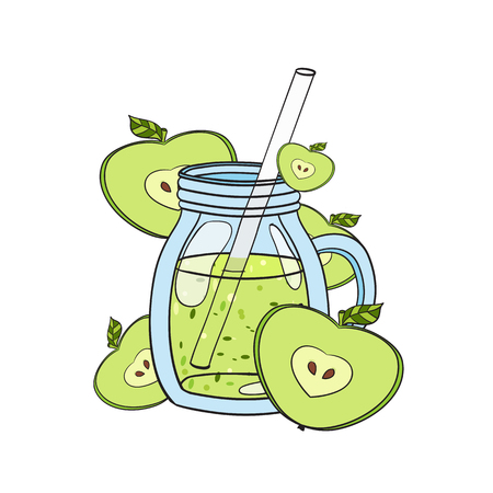 Smoothie in a glass. Vector hand drawn illustration. Making a healthy smoothie.