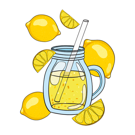 cocktail mixer: Smoothie in a glass. Vector hand drawn illustration. Making a healthy smoothie.