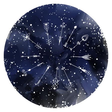 Hand drawn arrows on a starry sky. Vector