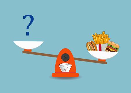 Concept de perte de poids, modes de vie sains, régime alimentaire, bonne nutrition. Légumes et restauration rapide sur des échelles. Vecteur. Dessiné à la main