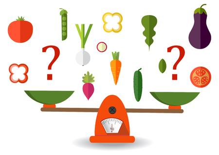 Concept van gewichtsverlies, een gezonde levensstijl, voeding, goede voeding. Groenten en fast food op schalen. Vector. Vlak
