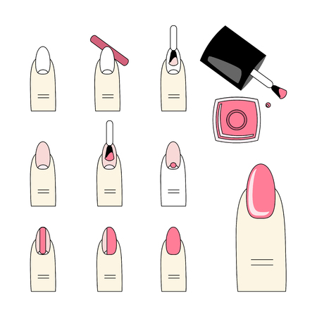french manicure: Design instruction of how to do a manicure correctly. Steps of manicure. Vector, icon