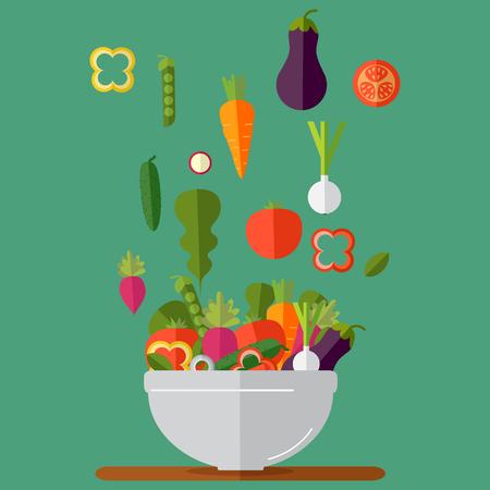 Fresh vegetables salad vector icon set. Vector illustration. Flat style organic icons set