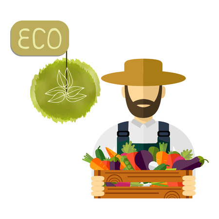 Country farmer who keeps fresh vegetables. Vector icon Illustration