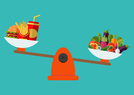 proper: Concept of weight loss, healthy lifestyles, diet, proper nutrition. Vegetables and fast food on scales. Vector. Flat