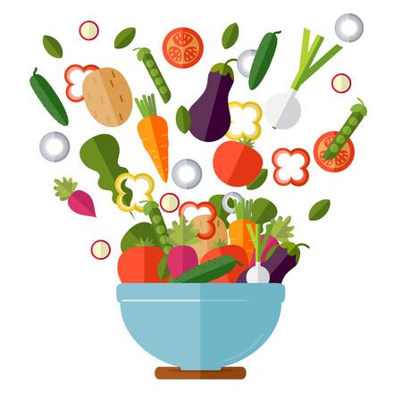 新鮮な野菜サラダ ベクトル アイコンを設定。ベクトルの図。フラット スタイルの有機のアイコンを設定