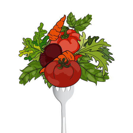balanced: Vegetables on a fork. Vector  hand drawn illustration. The concept of a healthy lifestyle and balanced diet, weight loss. Illustration