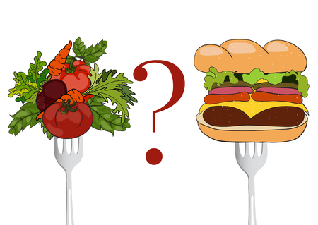 malnutrition: Vegetables and fast food on a fork. Vector  hand drawn illustration. The concept of a healthy lifestyle and balanced diet, weight loss and malnutrition. Illustration