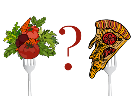 Vegetables and fast food on a fork. Vector  hand drawn illustration. The concept of a healthy lifestyle and balanced diet, weight loss and malnutrition. Illustration