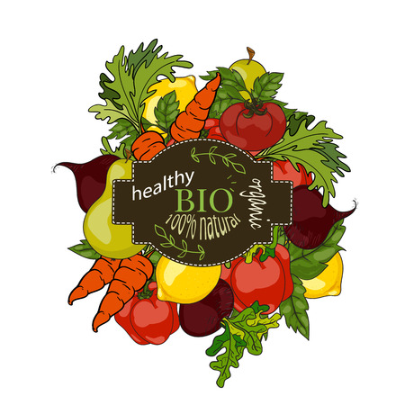 eat healthy: Set of fresh fruits and vegetables with a label of a healthy diet. Vector hand drawn illustration. The concept of a vegetarian menu, farm food, healthy, natural and organic food. Illustration