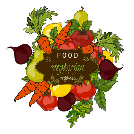 Conjunto de frutas y verduras frescas con una etiqueta de una dieta saludable. vector dibujado a mano ilustración. El concepto de un menú vegetariano, granja comida, comida sana, natural y orgánica.