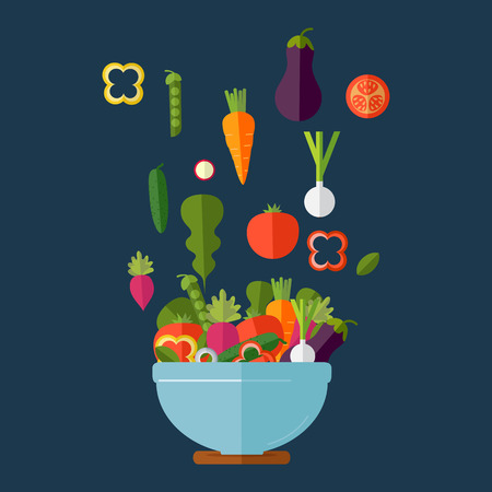 diet food: Fresh vegetables salad vector icon set. Vector illustration. Flat style organic icons set