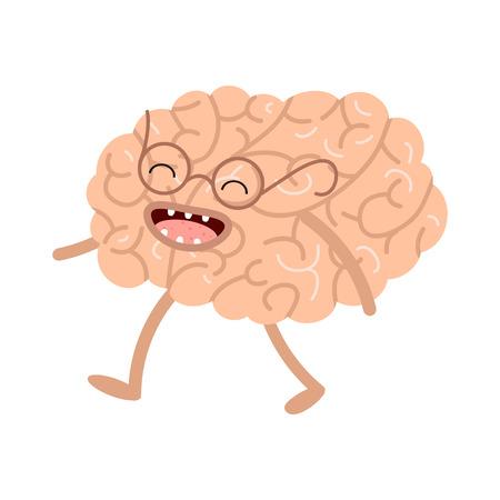 Cartoon human organs. Vector brain. Healthy and strong cute brain. Cartoon anatomy
