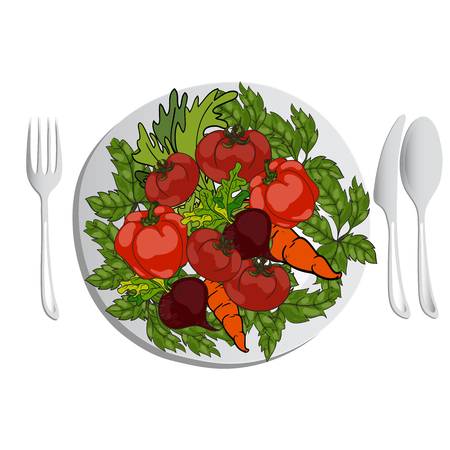 balanced: Fresh vegetables on a plate. A set of cutlery on the table. Vector hand drawn illustration. Concept healthy lifestyle, balanced and proper nutrition