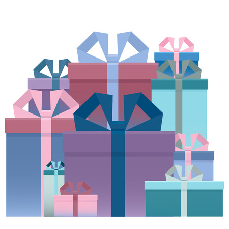 Set of gifts, box with ribbon. The concept congratulations delivery, victory,  birthday.  Flat style. Vector