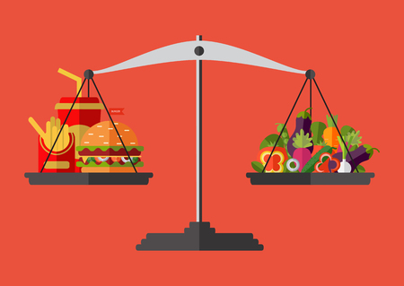Concept of weight loss, healthy lifestyles, diet, proper nutrition. Vegetables and fast food on scales.
