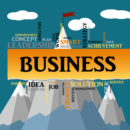 smart goals: Business concept. Flag on top of the mountain. Success symbol. Background of torn paper, tag cloud. graphics, flat style