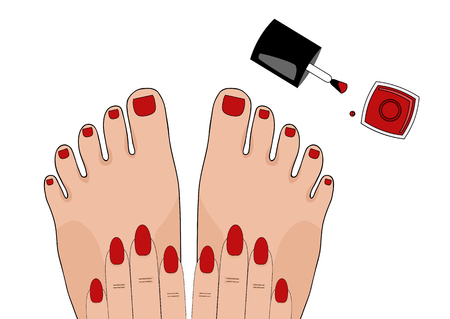 french manicure: Manicure and pedicure. Beauty. illustration