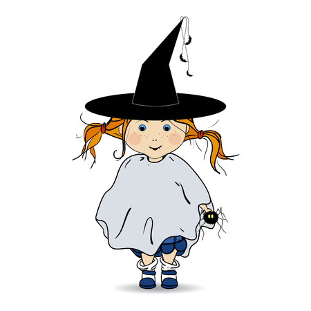 trick or treating: Cartoon  Illustration of a Happy Halloween. Children. Trick or Treat. Halloween Costumes.