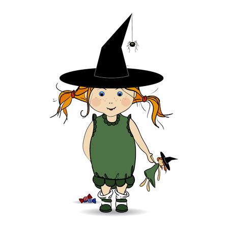 night dress: Cartoon Illustration of a Happy Halloween. Children. Trick or Treat. Halloween Costumes.