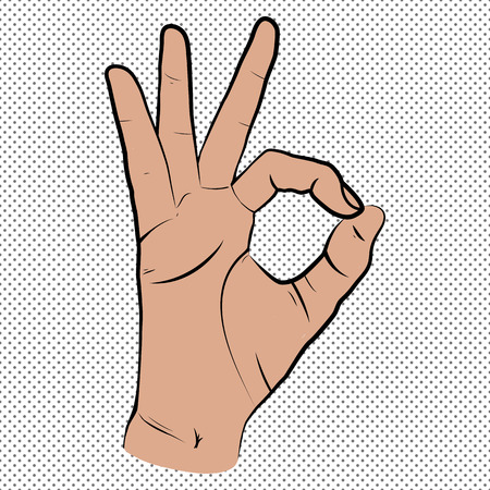 Human hand, showing OK sight, fingers showing symbol of a great state. isolated sketch style, hand drawn illustration. Ok icon