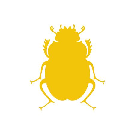 lady beetle: Black beetle, egyptian symbol, template. Lady bug Illustration