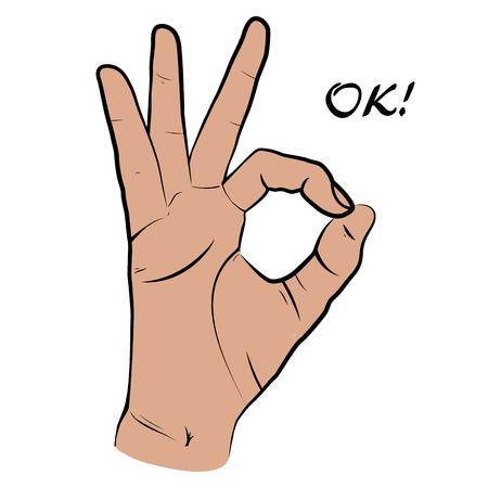 Mano umana, mostrando la vista OK, le dita che mostrano il simbolo di un grande stato. isolato stile schizzo, illustrazione disegnata a mano. icona OK