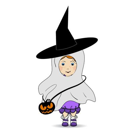 Cartoon Illustration eines glücklichen Halloween. Kinder. Süßes oder Saures. Halloweenkostüm.