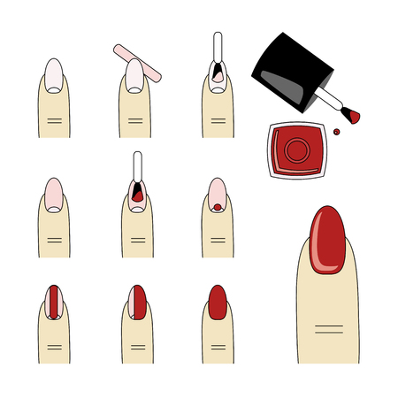 Design instruction of how to do a manicure correctly. Steps of manicure. Illustration