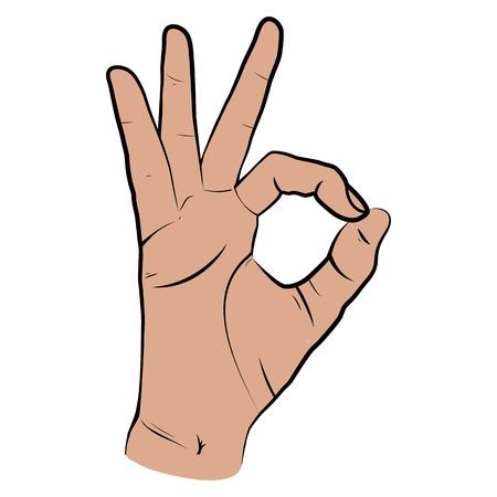 Menselijke hand, laten zien op OK gezicht, vingers met het symbool van een grote staat. geïsoleerde schets stijl, getrokken illustratie. Ok icon Stock Illustratie