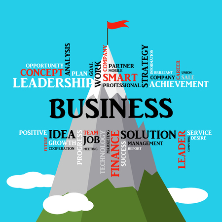 Business concept. Flag on top of the mountain. Success symbol. Background of torn paper, tag cloud. graphics, flat style