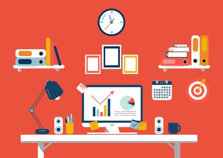 Piatto design illustrazione di lavoro moderno, ufficio interno Vettoriali