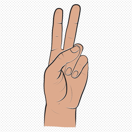 Human hand, showing two fingers sight, fingers showing symbol of peace. isolated sketch style, drawn illustration. Peace, victory icon