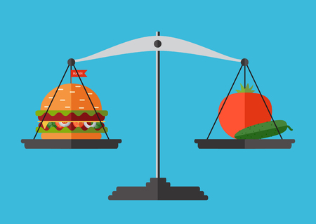 Concept of weight loss, healthy lifestyles, diet, proper nutrition. Vegetables and fast food on scales Vectores