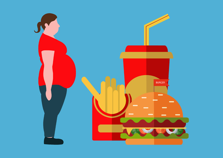 A fat woman and fast food. The concept of a healthy lifestyle and losing weight. Vector