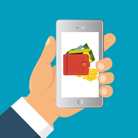 wallet: Vector flat illustration. Flat cartoon style. Send money via smartphone. Concept for mobile banking and online payment.