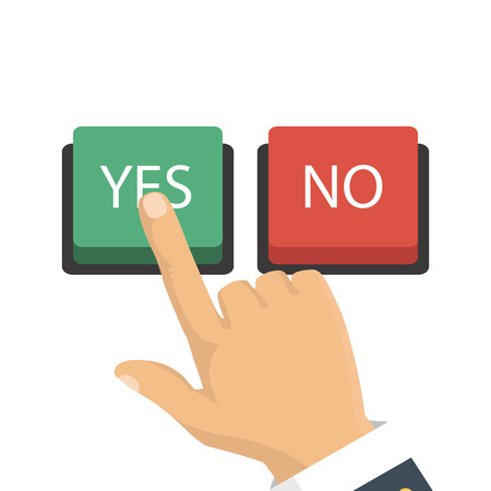 right choice: Vector illustration. The concept of choice, the right choice and a wrong decision. Hand, finger pressing buttons no or yes.