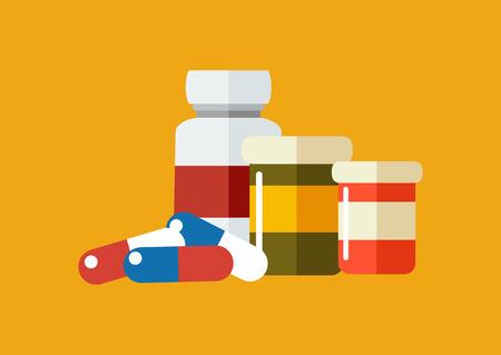 prescription drugs: Vector drugs icon, pills, capsules ans prescription bottles. Medicine vector illustration, modern flat cartoon style.
