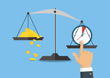 Money and time balance on the scale. Business concept. Vector illustration