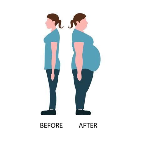 Figures de femmes épaisses et minces. notion de perte de poids. Vector illustration