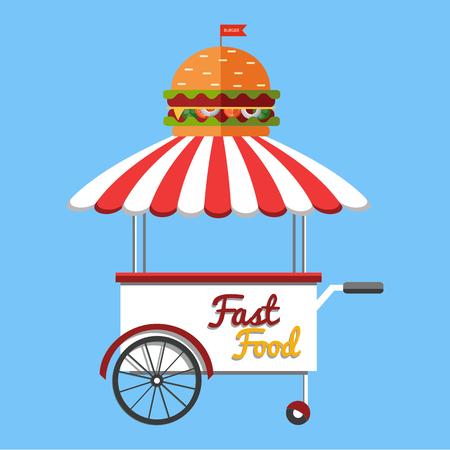 carretto gelati: Vector food menu flyer. Flat style. Food truck festival, menu food brochure.