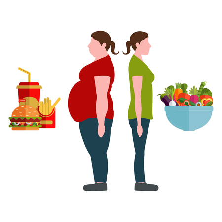 Figures of women thick and thin. A plate with vegetables and fast food. Weight loss concept. Vector illustration Illustration