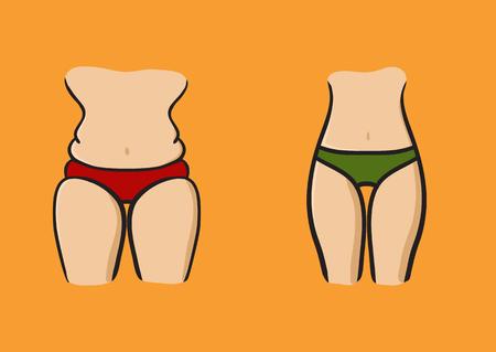 Konzept Abnehmen Symbol Gewichtsverlust. Silhouette des Sports Mädchen mit schlanker Figur, die im Sport engagiert ist. Vektor. Handgemalt