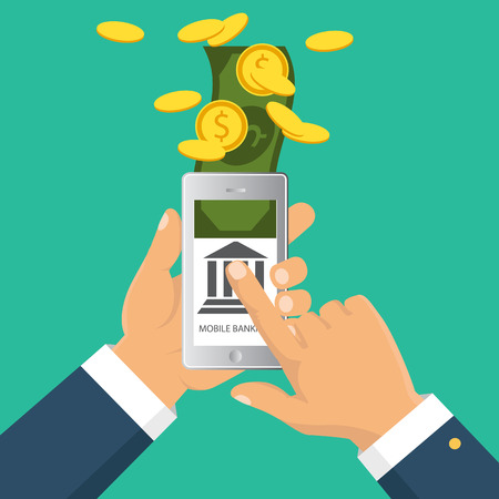 Vector flat illustration. Flat cartoon style. Send money via smartphone. Concept for mobile banking and online payment.