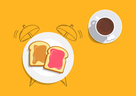Breakfast on the table, good morning concept. Vector