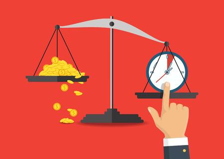Dinero y tiempo el equilibrio en la balanza. Concepto de negocio. ilustración vectorial